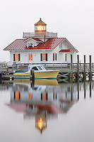 Roanoke Marshes Lighthouse in the fog  on the Outer Banks of NC.
