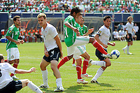 Juan Carlos Valenzuela (21) of Mexico (MEX) clears a ball away from his goal. Mexico (MEX) defeated the United States (USA) 5-0 during the finals of the CONCACAF Gold Cup at Giants Stadium in East Rutherford, NJ, on July 26, 2009.