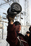 Activists Stuart Wellingham holds one of two FBI surveillance cameras found at a power station near the Malheur National Wildlife Reserve on January 15, 2016 in Burns, Oregon.  Ammon Bundy and about 20 other protesters took over the refuge on Jan. 2 after a rally to support the imprisoned local ranchers Dwight Hammond Jr., and his son, Steven Hammond. Another surveillance camera was found near the reserve. ©2016. Jim Bryant Photo. All Rights Reserved.