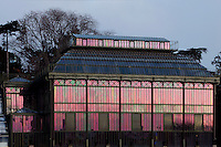 Plant History Glasshouse (formerly Australian Glasshouse), 1830s, Rohault de Fleury, Jardin des Plantes, Museum National d'Histoire Naturelle, Paris, France. Low angle view showing the glass and iron structure reflecting the winter early morning light. To the left is the small annexe building containing the passage between the Plant History Glasshouse and the incubators.