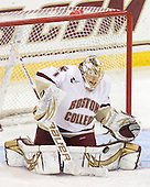 John Muse (BC - 1) makes one of his 38 saves on 39 shots.   - The Boston College Eagles defeated the visiting University of Maine Black Bears 4-1 on Sunday, November 21, 2010, at Conte Forum in Chestnut Hill, Massachusetts.