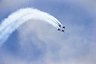 The Blue Angels diamond formation performs a loop.<br /> <br /> Photo by Matt Cashore/University of Notre Dame