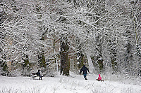 Man pulls child on a  toboggan on winter's day on snow-covered Hampstead Heath, London, United Kingdom