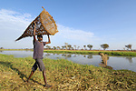 A once displaced man in northern Uganda carries a fishing basket. Families who've been displaced by internal conflict for years have returned to Otim, their village of origin, and the rich fishing grounds nearby.