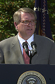 """John P. Walters, United States President George W. Bush's nominee to be the """"Drug Czar"""", makes remarks in the Rose Garden of the White House in Washington, D.C. on May 10, 2001..Credit: Ron Sachs / CNP"""