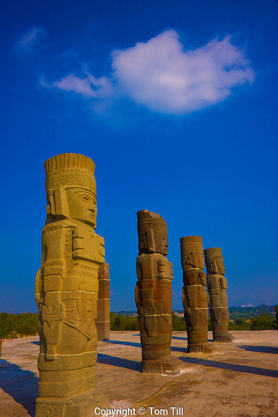 Tula Atlantean Warriors.Tula National Park, Mexico.Huge statues above Pyramid B .Legendary Toltec capital 900 B.C.Tula National Park, Mexico.Huge statues above Pyramid B .Legendary Toltec capital 900 B.C