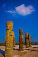 Tula Atlantean Warriors.Tula National Park, Mexico.Huge statues above Pyramid B .Legendary Toltec capital 900 B.C.Tula National Park, Mexico.Huge statues above Pyramid B .Legendary Toltec capital 900 B.C