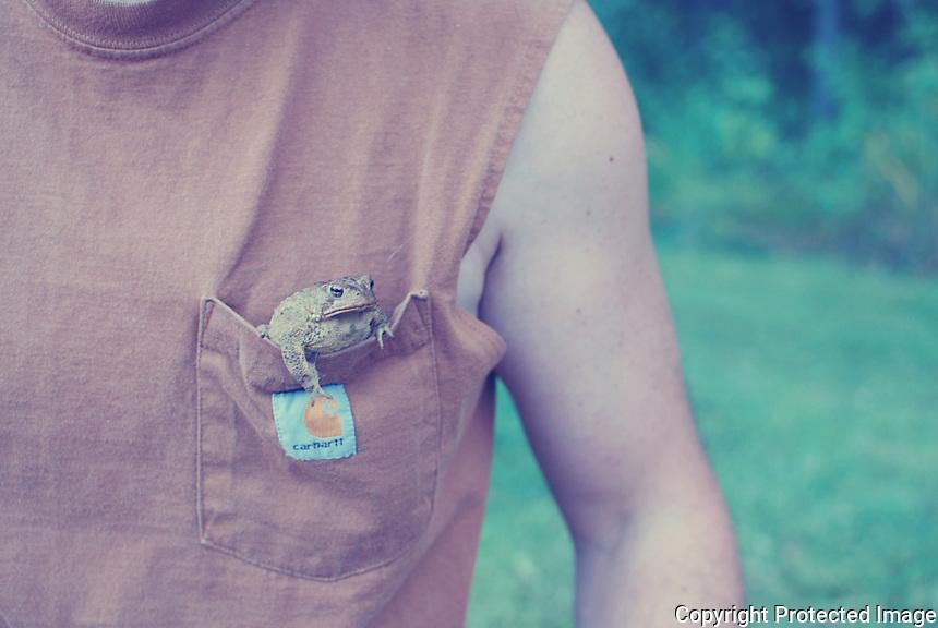 Frog hanging out of mans pocket.
