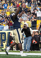 Pitt running back Isaac Bennett celebrates his 8-yard touchdown reception. The North Carolina Tar Heels defeated the Pitt Panthers 34-27 at Heinz Field, Pittsburgh Pennsylvania on November 16, 2013.