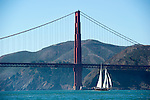 A replica of the Yacht America for which the America's Cup is named after sailing in San Francisco. 2/10/2012