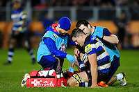 Francois Louw of Bath Rugby is treated for an injury. Aviva Premiership match, between Bath Rugby and Exeter Chiefs on December 31, 2016 at the Recreation Ground in Bath, England. Photo by: Patrick Khachfe / Onside Images