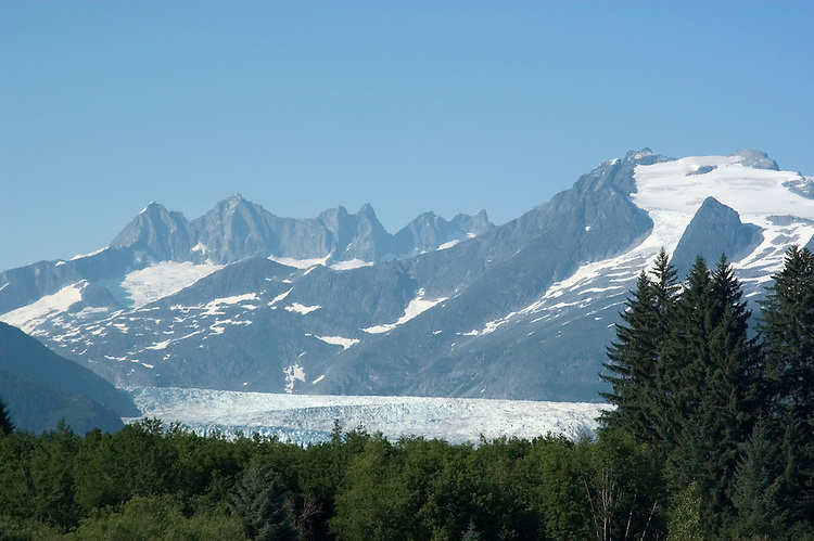 Alaska, Juneau: Mendenhall Glacier at Juneau.  .  .Photo #: alaska10139 .Photo copyright Lee Foster, 510/549-2202, lee@fostertravel.com, www.fostertravel.com.