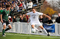 Ryan Kinne (10) of the Monmouth Hawks plays the ball. Dartmouth defeated Monmouth 4-0 during the first round of the 2010 NCAA Division 1 Men's Soccer Championship on the Great Lawn of Monmouth University in West Long Branch, NJ, on November 18, 2010.