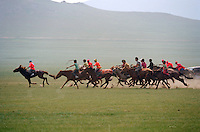 Khui Doloon Khudag, Mongolia, July 2003..Competitors & spectators at the horse racing in the national Naadam 40 kilometres outside Ulaanbaatar..Young jockeys race across the steppes pursued by coaches in 4 wheel vehicles.