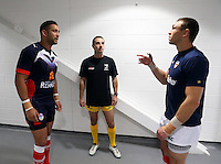PICTURE BY VAUGHN RIDLEY/SWPIX.COM - Rugby League - Autumn International Series 2012 Final - England v France - Salford City Stadium, Salford, England - 11/11/12 - Coin Toss - France's Olivier Elima, Referee Shane Rehm and England's Kevin Sinfield.