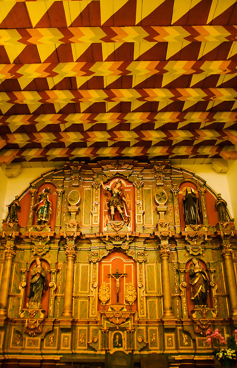 California, San Francisco: Colorful interior painted ceiling and altar of Mission Dolores, the Spanish mission..Photo #: 26-casanf78514.Photo © Lee Foster 2008