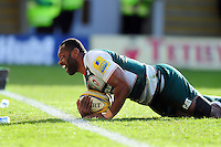 Vereniki Goneva of Leicester Tigers is all smiles after scoring a try. Aviva Premiership match, between Northampton Saints and Leicester Tigers on April 16, 2016 at Franklin's Gardens in Northampton, England. Photo by: Patrick Khachfe / JMP