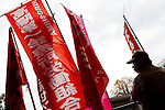 Marxist and Union activists listen among red flags at The National Worker`s Rally organised by Marxist groups and Doro Chiba labour union in Hibiya Park, Tokyo, Japan, SundayNovember 1st 2009