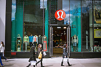 A Lululemon Athletica store in the New York neighborhood of Union Square on Friday, March 29, 2013. The company recently faced a public relations nightmare when some of their yoga pants were discovered as being too sheer when stretched.  (© Richard B. Levine)