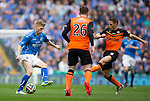 St Johnstone v Dundee United....17.05.14   William Hill Scottish Cup Final<br /> David Wotherspoon is charged down by John Rankin<br /> Picture by Graeme Hart.<br /> Copyright Perthshire Picture Agency<br /> Tel: 01738 623350  Mobile: 07990 594431