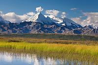 Mt Brooks of the Alaska range reflect in a small tundra pond, Denali National Park, interior, Alaska.
