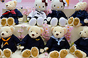 February 8th, 2012 : Tokyo, Japan &ndash; Teddybears and Hello Kitty products are displayed for The 73rd Tokyo International Gift show 2012 at Tokyo Big Sight. Customers can order doll's costume made from their own high school uniform. There are over 3 million items including gift products and everyday goods. 2500 exhibitors showcase their unique products. This exhibition is held from February 8 to 10. (Photo by Yumeto Yamazaki/AFLO).
