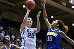 30 October 2014: Duke's Rebecca Greenwell (23) shoots\ over Limestone's Alicia Brookins (13). The Duke University Blue Devils hosted the Limestone College Saints at Cameron Indoor Stadium in Durham, North Carolina in an NCAA Women's Basketball exhibition game. Duke won the game 100-33.
