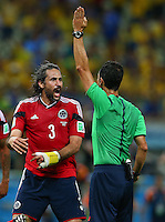 Mario Yepes of Colombia rages at referee Carlos Carballo after he has a goal disallowed