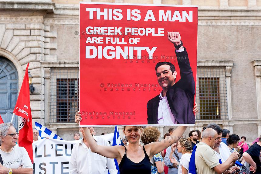 Roma 3 Luglio 2015<br /> Manifestazione in sostegno del &quot;No&quot; sul  referendum sull'austerit&agrave; dell'Unione europea  in Grecia e per sostenere il popolo greco nella sua lotta contro la Troika e la sua politica di austerit&agrave;.<br /> Rome July 3, 2015<br /> Demonstration in support of the &quot;No&quot; Greek referendum on European Union austerity, to support the greek people in its struggle against the Troika and its policy of austerity.