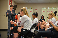 Dallas, TX - Friday March 31, 2017: Tara Vanderveer, players prior to the NCAA National Semifinal Game between the women's basketball teams of Stanford and South Carolina at the American Airlines Center.