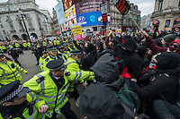 Stand up to Racsim, Refugees Welcome protest. london19-3-16 Several thousand people marched through London against racism and ismamophobia. A counter protest by Britain First attracted around 30 people and was surrounded by supporters of the Anti Fascist network.