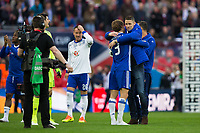 Chelsea's Gary Cahill congratulates team mate Marcos Alonso after the  game  <br /> <br /> <br /> Photographer Craig Mercer/CameraSport<br /> <br /> Emirates FA Cup Semi-Final - Chelsea v Tottenham Hotspur - Saturday 22nd April 2017 - Wembley Stadium - London<br />  <br /> World Copyright &copy; 2017 CameraSport. All rights reserved. 43 Linden Ave. Countesthorpe. Leicester. England. LE8 5PG - Tel: +44 (0) 116 277 4147 - admin@camerasport.com - www.camerasport.com