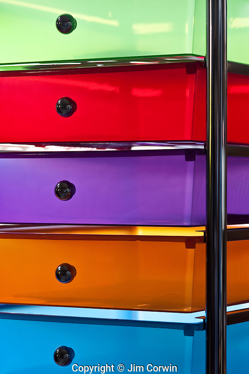 Office drawers multicolored close-up views of colorful drawers