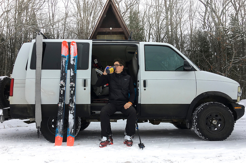 Photographer and filmmaker Aaron Peterson while skiing.