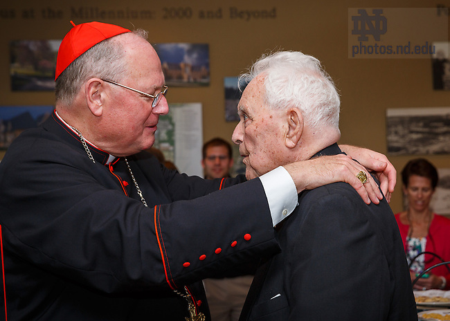 May 19, 2013; Timothy Cardinal Dolan, and Rev. Theodore M. Hesburgh, C.S.C..<br /> <br /> Photo by Peter Ringenberger/University of Notre Dame