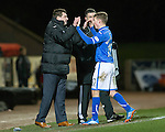 St Johnstone v St Mirren.....11.01.14   SPFL<br /> Tommy Wright gives a well done to David Wotherspoon as he is subbed<br /> Picture by Graeme Hart.<br /> Copyright Perthshire Picture Agency<br /> Tel: 01738 623350  Mobile: 07990 594431