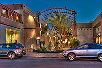 The Gardens, El Paseo Drive, Palm Desert, CA, Rock, Water Fountain, Entrance, Fashion, haute couture; shopping, Boutiques; famous; retailers; High dynamic range imaging (HDRI or HDR)