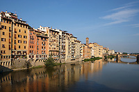 General view of the River Arno, Florence, Tuscany, Italy, pictured on June 8, 2007, in the early morning with reflections. Florence, capital of Tuscany, is world famous for its Renaissance art and architecture. Its historical centre was declared a UNESCO World Heritage Site in 1982. Picture by Manuel Cohen.