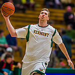 4 February 2014: University of Vermont Catamount Forward/Center Ryan Pierson, a Junior from St. Louis, MO, warms up prior to facing the University of Maine Black Bears at Patrick Gymnasium in Burlington, Vermont. The Cats defeated the Bears 93-65 improving to 9-1 in America East and 15-9 overall. Mandatory Credit: Ed Wolfstein Photo *** RAW (NEF) Image File Available ***