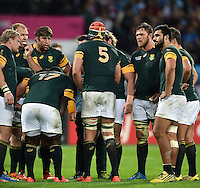 Victor Matfield of South Africa speaks to his team-mates during a break in play. Rugby World Cup Bronze Final between South Africa and Argentina on October 30, 2015 at The Stadium, Queen Elizabeth Olympic Park in London, England. Photo by: Patrick Khachfe / Onside Images