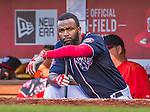 23 May 2015: Washington Nationals outfielder Denard Span watches play from the dugout steps during a game against the Philadelphia Phillies at Nationals Park in Washington, DC. The Phillies defeated the Nationals 8-1 in the second game of their 3-game weekend series. Mandatory Credit: Ed Wolfstein Photo *** RAW (NEF) Image File Available ***