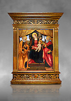 Gothic altarpiece of Madonna and Child with St Peter and Paul by Vicenzo Frediani, circa 1490, tempera and gold leaf on wood.  National Museum of Catalan Art, Barcelona, Spain, inv no: MNAC  64978. Against a grey art background.