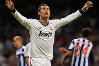 Cristiano Ronaldo celebrates de 3-1 against Deportivo de la Coruña