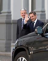 Nicolas Sarkozy salue Didier Reynders - EXCLUSIF - Bruxelles