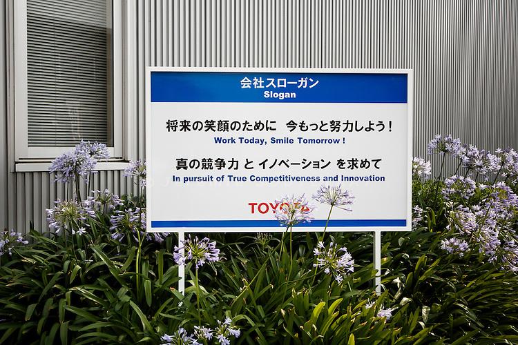 Toyota city, July 16 2014 - At the entrance of Takaoka plant.
