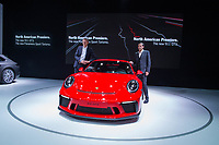 NEW YORK, NY - APRIL 12: Porsche Cars North America Chief Executive Officer Klaus Zellmer (R) poses with a 2018 Porsche 911 GT3 at the New York International Auto Show, at the Jacob K. Javits Convention Center on April 12, 2017 in Manhattan, New York. Photo by VIEWpress/Eduardo MunozAlvarez