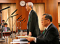 April 3, 2012, Tokyo, Japan - Hideaki Nishimura, standing, president of ITM Securities, speaks as an unsworn witness before a Diet upper house financial committee meeting probing into the pension fund scam in Tokyo on Tuesday, April 3, 2012. (Photo by Natsuki Sakai/AFLO) AYF -mis-