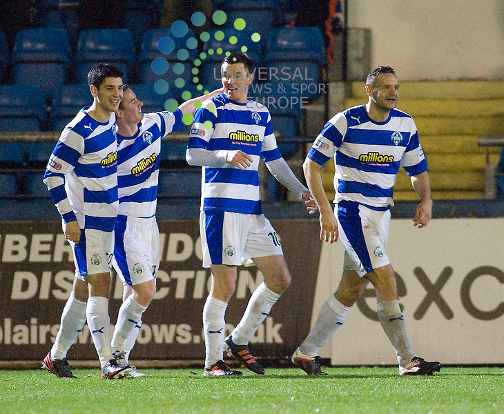 Martin Hardie (10) of Greenock Morton  celebrates second Goall during the Greenock Morton V Airdrie United Irn Bru Scottish First Division Match 2012-2013 at Cappielow Park, Greenock  .Picture: Campbell Skinner/Universal News And Sport (Scotland) 15th December 2012..