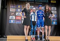 Winners of both the men's &amp; women's race on the podium: Yves Lampaert (BEL/QuickStep Floors) &amp; Lotta Lepist&ouml; (FIN/Cerv&eacute;lo-Bigla)<br /> <br /> 72nd Dwars Door Vlaanderen (1.UWT)<br /> 1day race: Roeselare &rsaquo; Waregem BEL (203.4km)