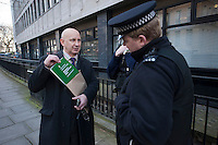 Blacklist Support Group protest inside the Office of Sir Robert McAlpine. 21-2-14 Blacklisted construction worker Dave Smith and his supporters attempt to serve a citizens arrest warrent on Sir Robert McAlpine at his London offices. There were scuffles with staff inside the office and the police were called to remove the protesters. Sir Robert McAlpine was chair of The Consultancy Association which used illegal blacklists on construction workers for many years. The offices were visited by the protesters to mark the fifth anniversay of Police raiding the premises and taking computers over the the illegal practice of blacklisting.